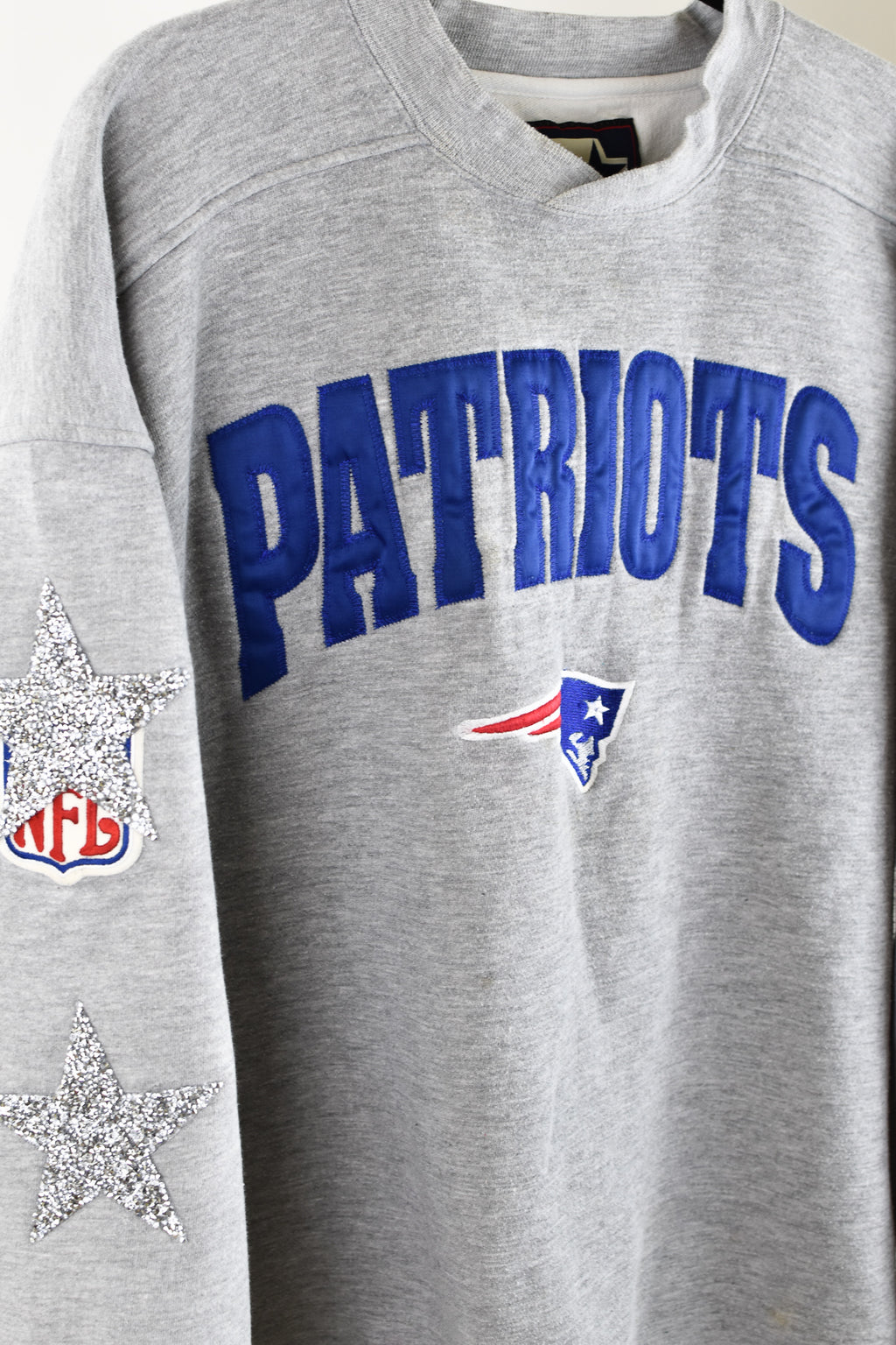 Upcycled VINTAGE New England Patriots Star Rhinestone Sweatshirt