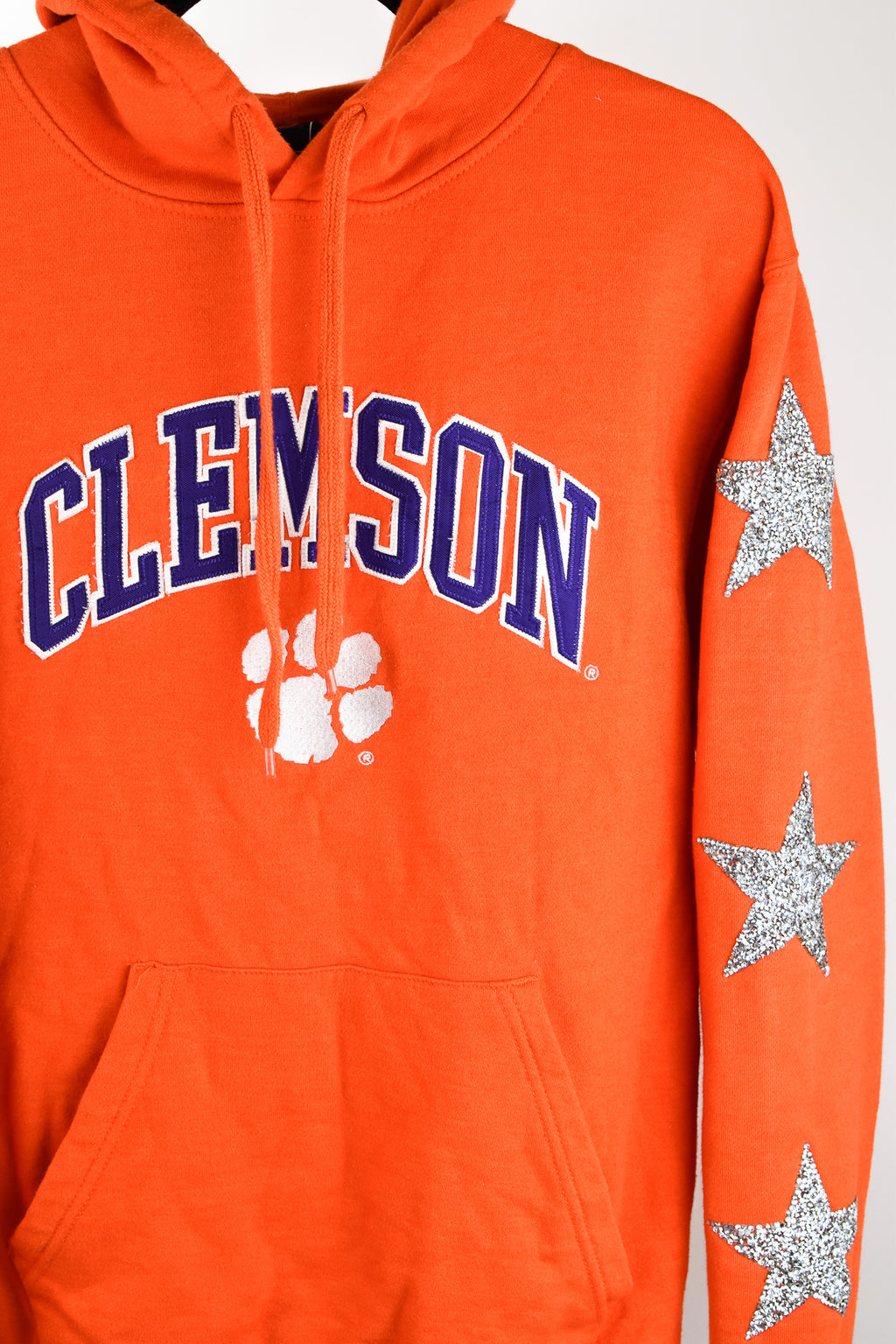 Upcycled Clemson University Star Rhinestone Sweatshirt