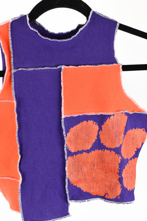 Upcycled Clemson University Scrappy Top