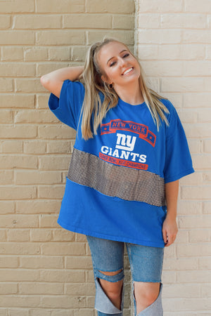 Upcycled Giants Rhinestone Mesh Top