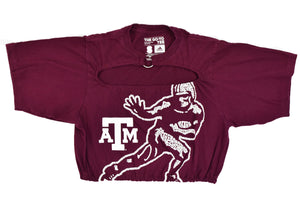 Upcycled Texas A&M Cutout Ring Top