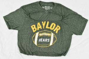 Upcycled Baylor University Cutout Ring Top