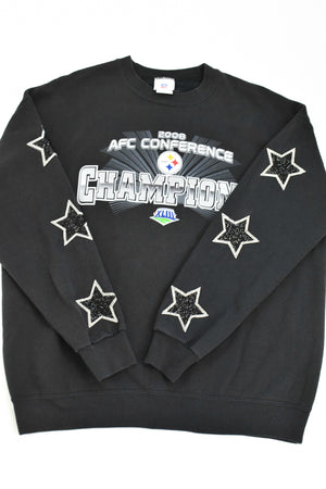 Upcycled Pittsburgh Steelers Star Rhinestone Sweatshirt