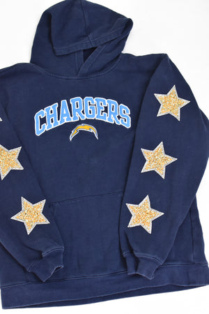Upcycled VINTAGE Los Angeles Chargers Star Rhinestone Sweatshirt