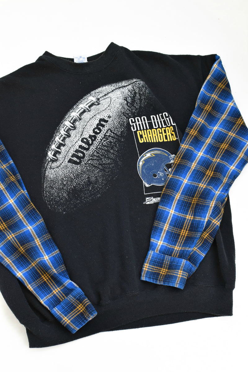 Upcycled VINTAGE Los Angeles Chargers Flannel Sleeve Sweatshirt