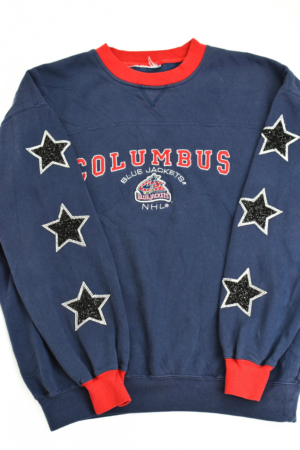 Upcycled VINTAGE Columbus Blue Jackets Star Rhinestone Sweatshirt