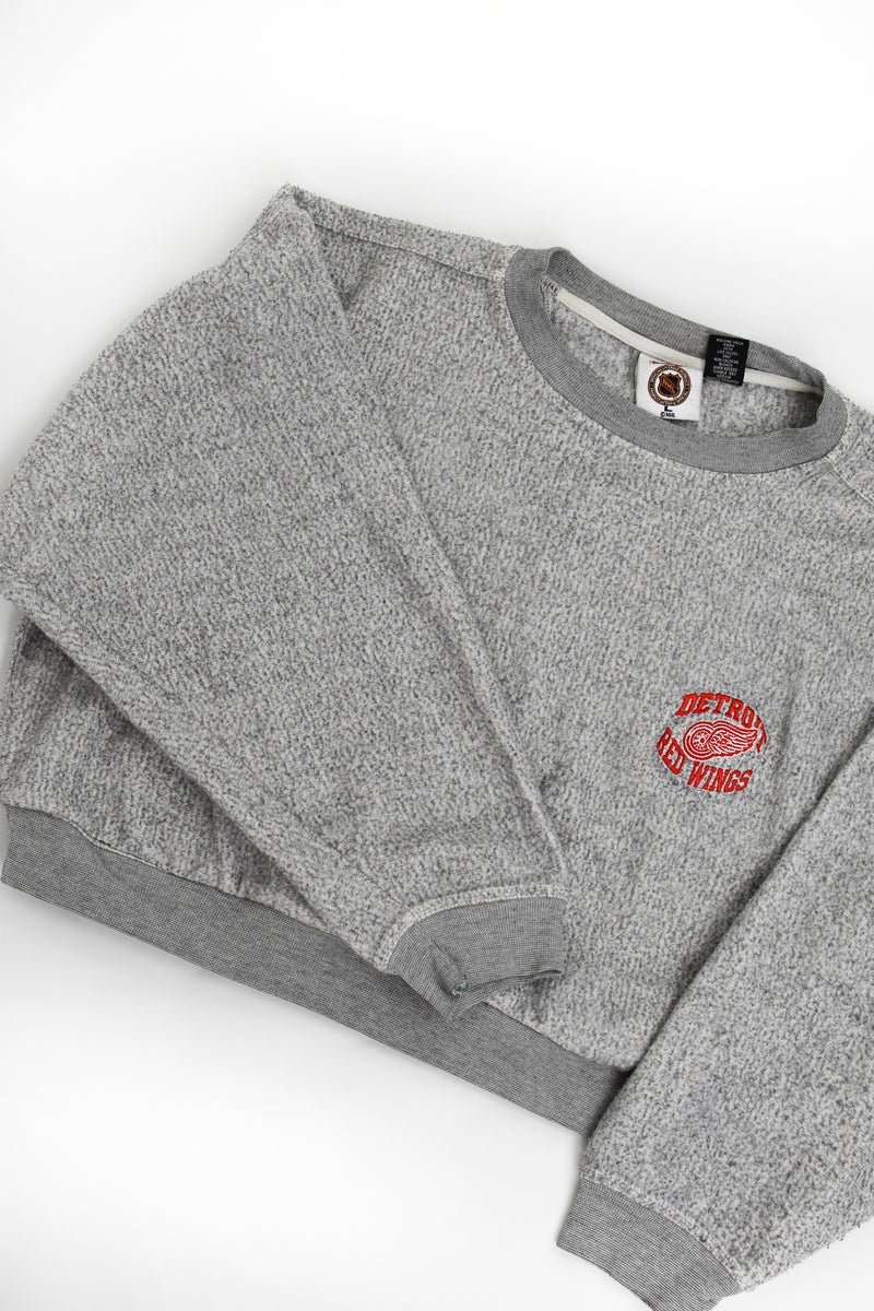 Upcycled VINTAGE Detroit Red Wings Cropped Sweatshirt