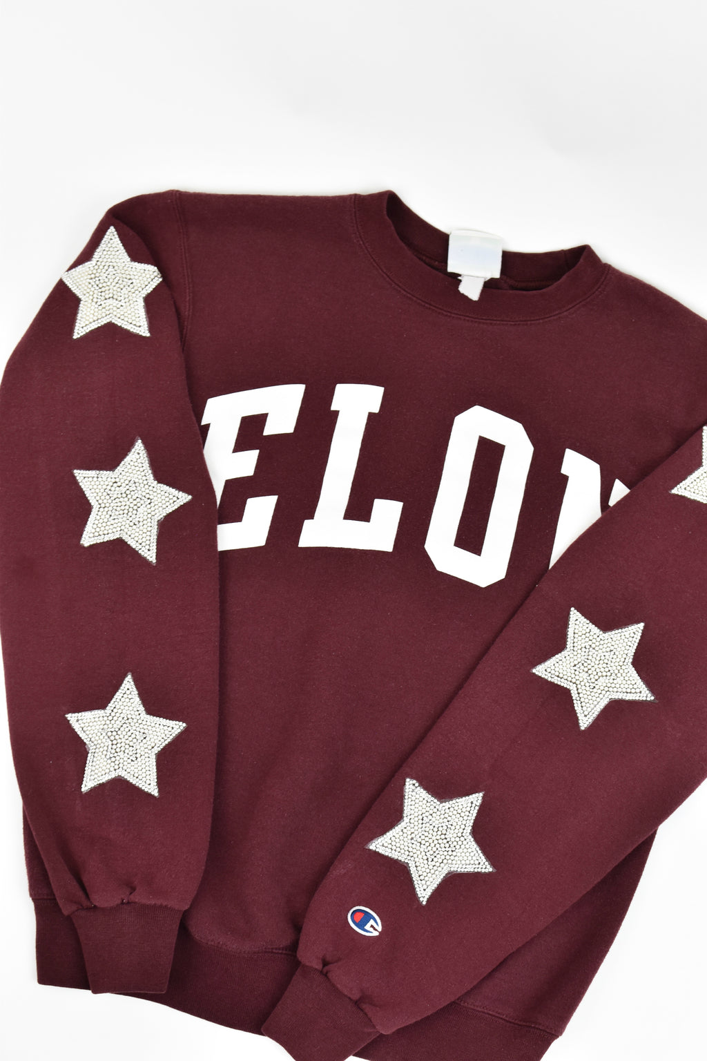 Upcycled Elon University Star Rhinestone Sweatshirt