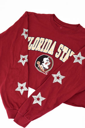 Upcycled Florida State Star Rhinestone Shirt