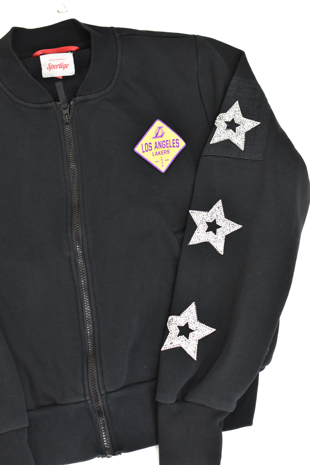 Upcycled Los Angeles Lakers Star Rhinestone Sweatshirt