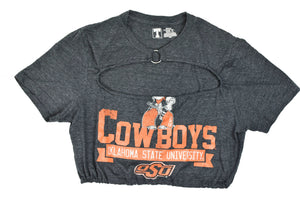 Upcycled Oklahoma State Cutout Ring Top