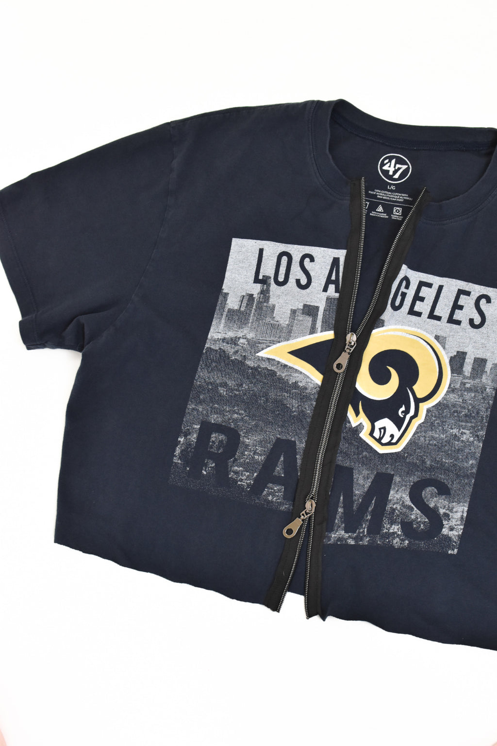 Upcycled Los Angeles Rams Double Zipper Shirt