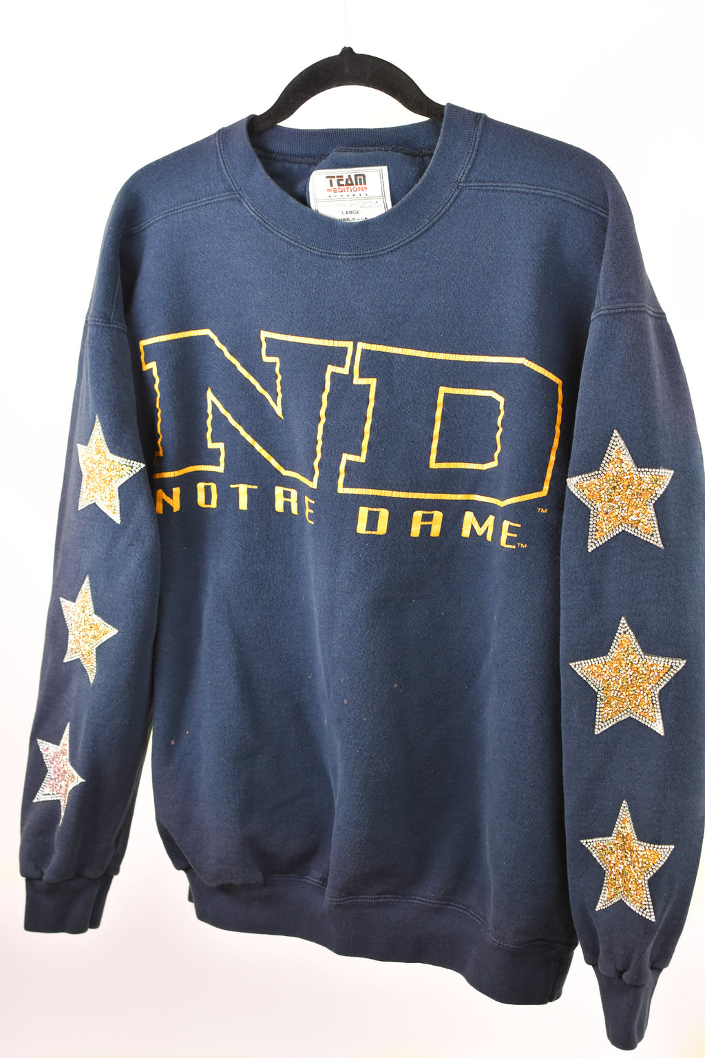 Upcycled VINTAGE University of Notre Dame Star Rhinestone Sweatshirt
