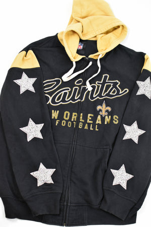 Upcycled Saints Star Rhinestone Sweatshirt