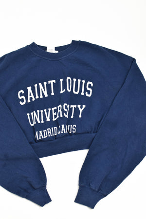 Upcycled VINTAGE Saint Louis Cropped Sweatshirt