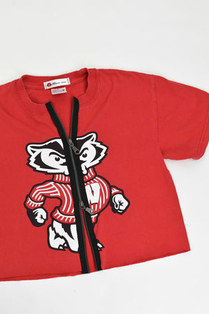 Upcycled University of Wisconsin Double Zipper Shirt