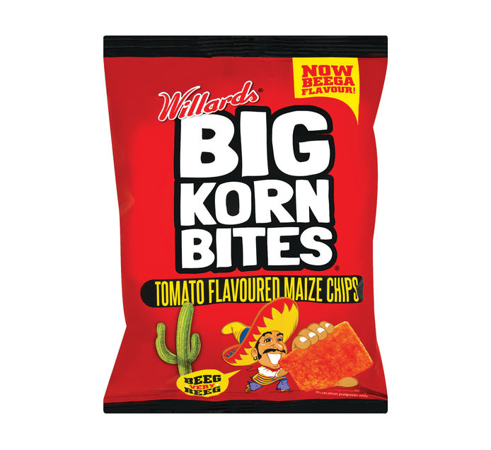 Willards Big Korn Bites Tomato Chips 120gr Packet
