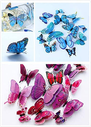 TERSELY 12 Purple+ 12 Pink 3D Butterfly Wall Removable Sticker Decals, Home Decoration DIY Removable Man-Made Wall Stickers for Wall Decor Home Decor Wall Art Kids Room Bedroom