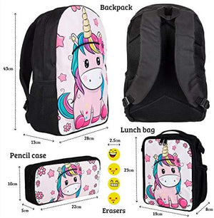 Backpack with Lunch Bag and Pencil Case - 17 Inch Backpack with Insulated Lunch Bag and Zip Pencil Case - Washable Everyday School Backpack with Soft Straps  (Unicorn)