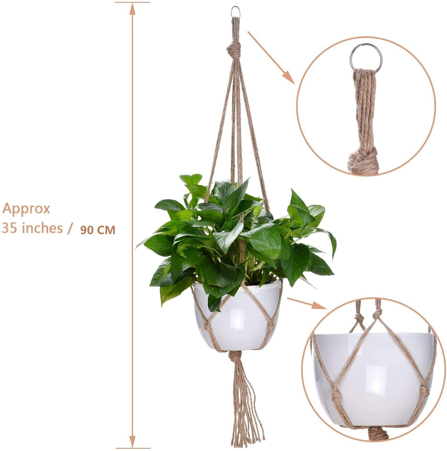 4 Pieces Macrame Plant Hanger Flower Pot Plant Holder with Key Ring for Indoor Outdoor Decorations, 2 Pieces 105 cm and 2 Pieces 88 cm, 4 Legs with 4 Screw Hooks