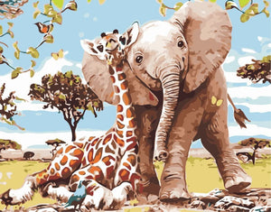 Paint by Numbers-DIY Digital Canvas Oil Painting Adults Kids Paint by Number Kits Home Decorations- Elephant and Giraffe 16 * 20 inch