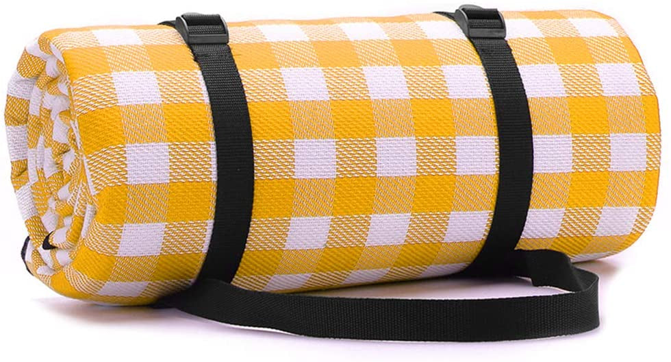 Simpeak 200x150cm Large Picnic Mat Pad Waterproof Mat, Yellow and White Plaid Premium Picnic Blanket Rug 78 * 59  Outdoor Picnic Seat Cushion Mat, Anti-Tide Heat Insulation Easy to Carry