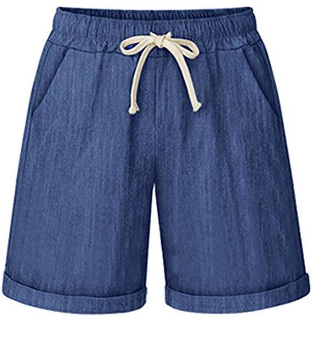 Women's Elastic Waist Casual Comfy Cotton Beach Shorts with Drawstring