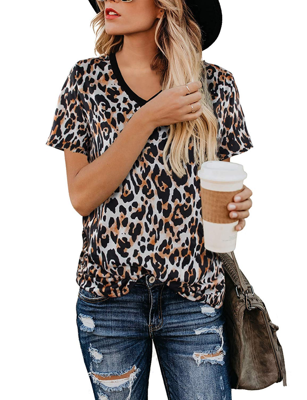 Women's casual leopard top short-sleeved soft shirt