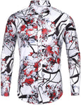 Mens Long Sleeve Fashion Luxury Design Print Dress Shirt (50% OFF)