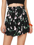 Women's Tie Bow Floral Print Summer Beach Elastic Shorts