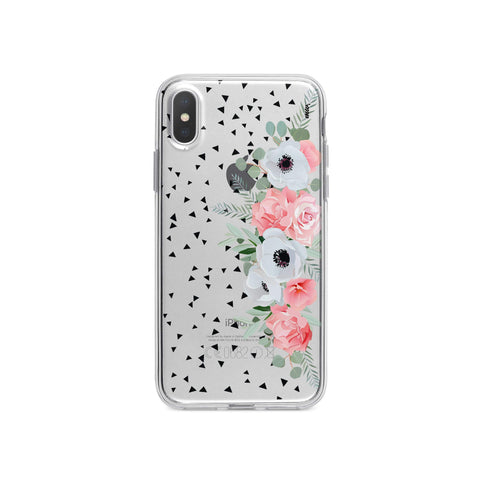 iPhone X Case Clear Black and White Floral