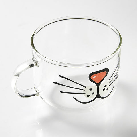 Coffee Mug Cat Face Made Of Premium Glass With Comfortable Grip Handle - Extra Large 17 Oz