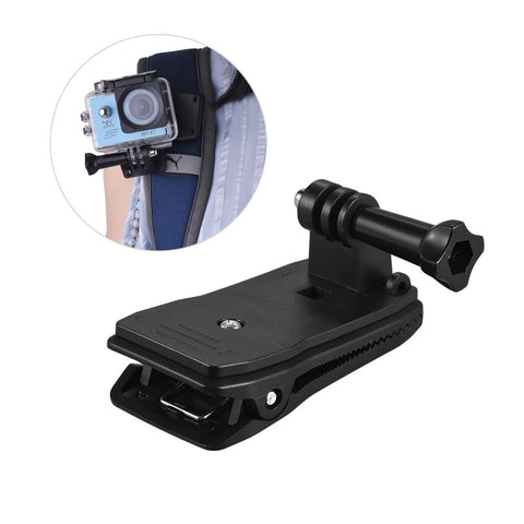 GoPro Hero Clip Mount Compatible With Other Action Cameras Backpack Strap 360 Degree Rotary Clamp Arm