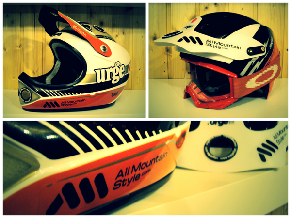 AMS stickers decorating mtb helmets