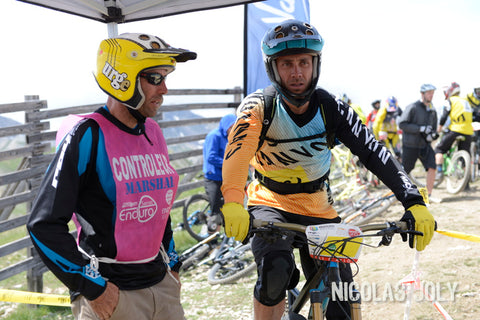 Fabien Barel and Fred Glo at a start of a EWS race