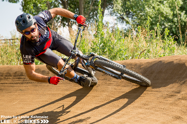 Lee McCormack cornering at the pump track