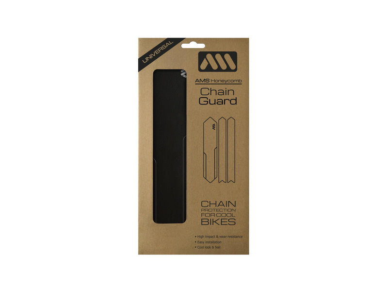AMS Chain Guard in Black color inside the packaging