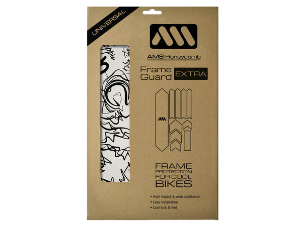 AMS Frame Guard Extra size version with the black signature graphics inside the packaging