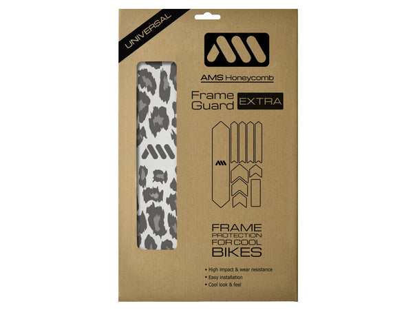 AMS Frame Guard Extra size cheetah pattern product inside the packaging