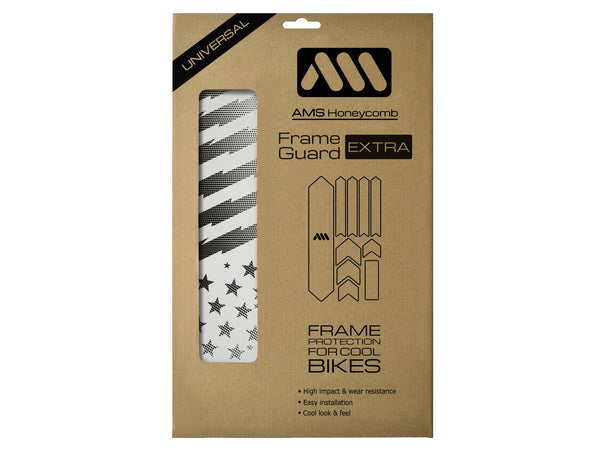 AMS Frame Guard extra size Patriot design in black inside the packaging