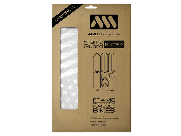 AMS Frame Guard extra size Patriot design in white inside the packaging