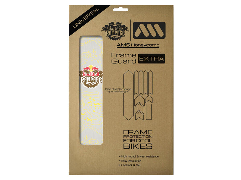AMS X Red Bull Rampage Frame Guard Extra in Yellow inside the packaging