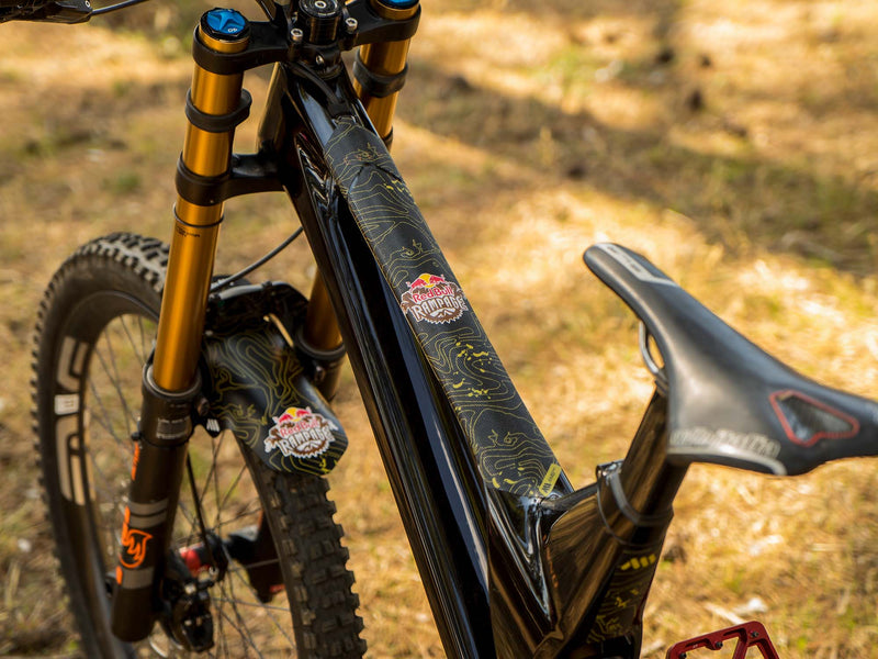 AMS X Red Bull Rampage Frame Guard Yellow on a mtb top tube