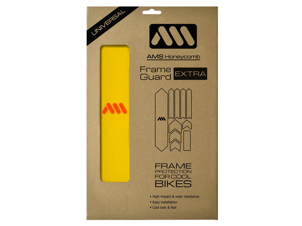 AMS Frame Guard Extra size in yellow color inside the packaging