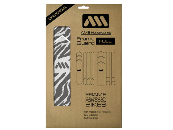 AMS Frame Guard full size Zebra animal print inside the packaging