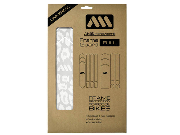 AMS Frame Guard Cheetah pattern in Full size white color inside the packaging