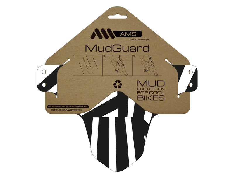 AMS Dazzle reflective mud guard product in the packaging