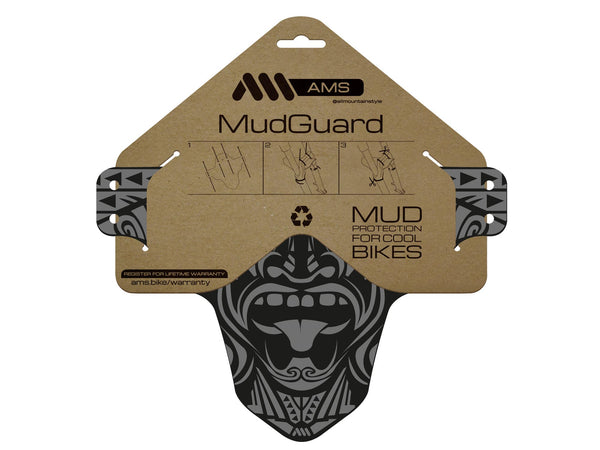 AMS mudguard Maori design in flat form in the packaging