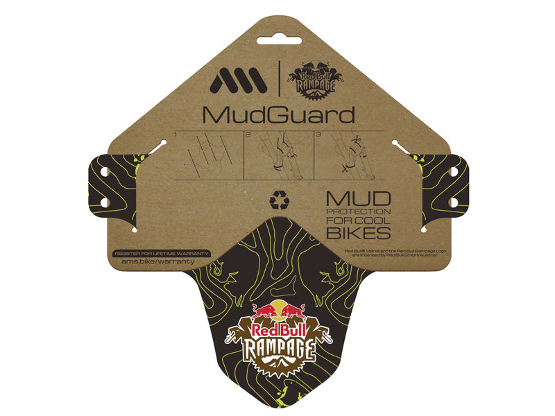 AMS X Red Bull Rampage Mud Guard in Yellow inside the packaging