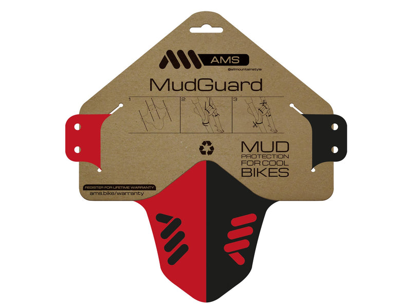 AMS Mud Guard Red inside the packaging
